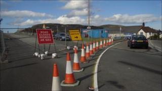 Road closed near Maesdu bridge at Llandudno