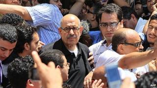 Mohamed ElBaradei at demo in Alexandria - June 2010