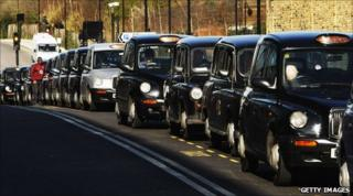 A line of London cabs outside Euston station