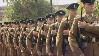 3 Rifles parade in Sunderland