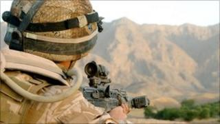 UK soldier in Afghanistan (Library)