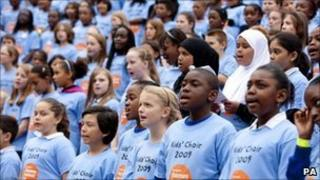 Kids Choir performing at the Thames Festival in 2009