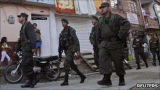 Police on patrol in Medellin