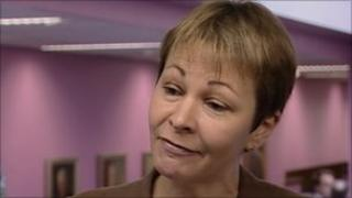 Caroline Lucas speaks to the West Midlands Politics Show at the Green Party conference in Birmingham