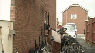 The scene of the fire in Newtownabbey