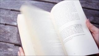 Leafing through book