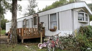The trailer where Stanley Neace lived with his wife in Jackson Kentucky