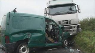 Van and lorry crash