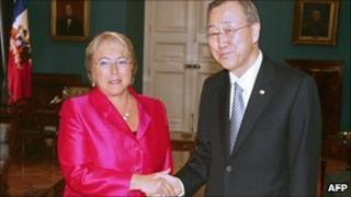 Michelle Bachelet and UN chief Ban Ki-moon in Chile in March 2010