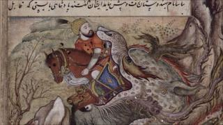 Bahman-Ardashir swallowed by a dragon (British Library)