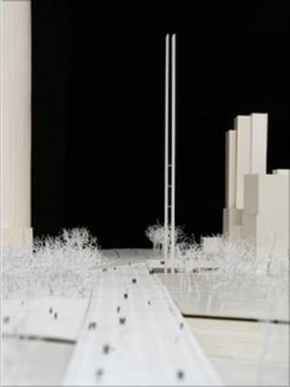 Model of the Trail of Light monument; credit: bicentenario.gob.mx