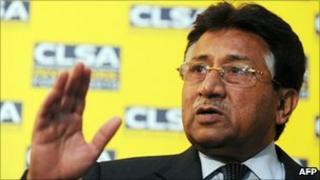 Former Pakistan President Pervez Musharraf speaks to journalists in Hong Kong on 15 September 2010