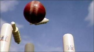 Cricket ball hitting stumps
