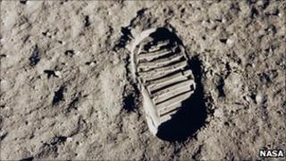 Astronaut Buzz Aldrin's boot print on the Moon