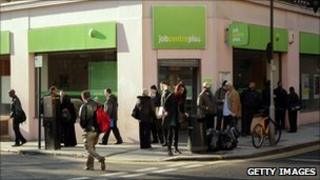 People queuing outside job centre