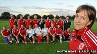 Middlesbrough Ladies football team with manager Marrie Wieczorek at the front