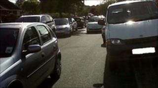 Parking outside a school in Luton