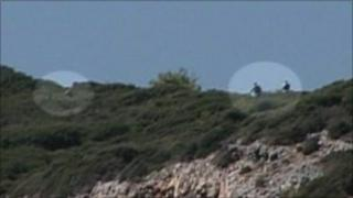 Suspected illegal immigrants arrive by boat into Samos, Greece