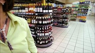 Alcohol in a supermarket