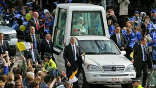 Pope Benedict XVI in the Popemobile in Edinburgh
