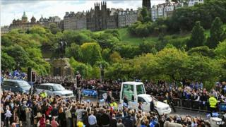 The Popemobile on Princes Street