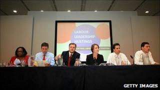 The five Labour candidates at an earlier TUC hustings