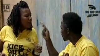 Lerato Sengadi (l) and Hannington Kuteesa (r) argue before the punch was thrown