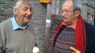 Lord Livsey with Hay's second-hand bookshop 'king' Richard Booth at Talgarth Festival of the Black Mountains last month