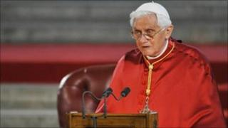 Pope Benedict XVI gives his speech in Westminster Hall,