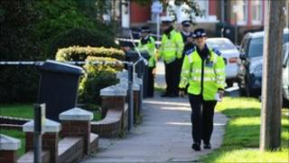 Police at the scene of the attack in Edgware
