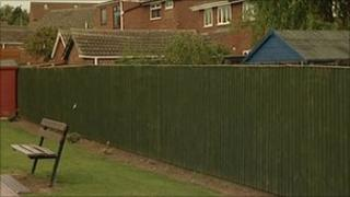 The soundproof fence at the school