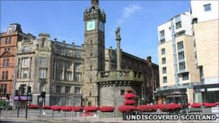 Tollbooth Tower and Merkat Cross, Glasgow