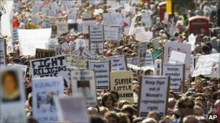 Protesters marching through London