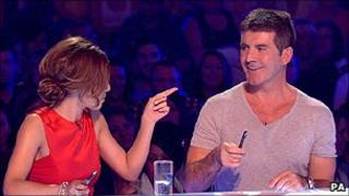 Simon Cowell and Cheryl Cole on The X Factor