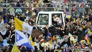 Pope in his Popemobile at Cofton Park