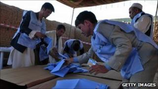 Election workers counting ballots in Kabul