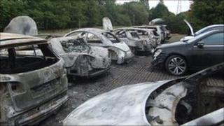 Destroyed cars at Mann Egerton depot