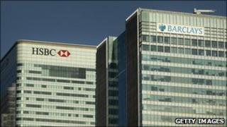 Headquarters of HSBC and Barclays in London