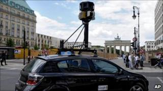 Google Street View car drives near the Brandenburg Gate in Berlin, Germany in July 2008
