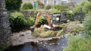 Clearing the river at Ysbyty Ifan