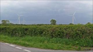 Predicted view of the turbines from the Nupdown Road/Meadlands junction