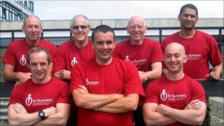 The trekkers: (top row from left to right) Martyn Web, Colin Mason, Mick Monaghan, Mark Perera and (bottom left to right) Lawrence Mercer, Gary Ireland and Neil Pennington