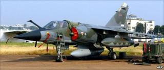 A French Mirage F1 fighter at Entebbe airport
