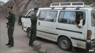 Yemeni forces man a check point in Abyan province in southern Yemen