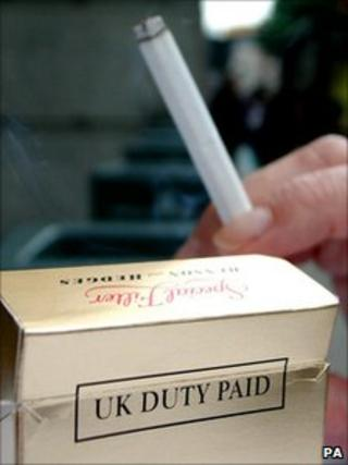 A packet of cigarettes with the duty paid mark