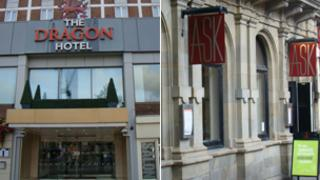 Swansea's Dragon Hotel (left) and Ask restaurant (right)