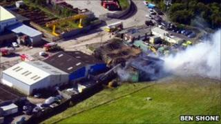 The fire at an industrial unit in Buckley, Flintshire