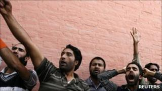 Protesters in Indian-administered Kashmir
