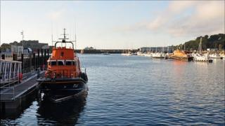 Spirit of Guernsey (left) and Daniel L Gibson lifeboats in St Peter Port harbour