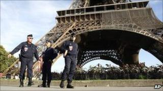 French police near the Eiffel Tower in Paris. Photo: 20 September 2010